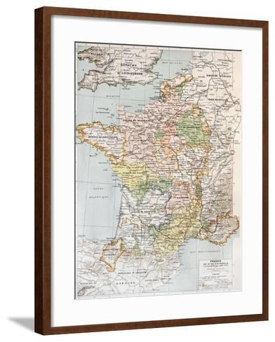 Medieval France Old Map (10th - 14th Century)-marzolino-Framed Art Print