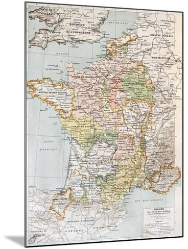 Medieval France Old Map (10th - 14th Century)-marzolino-Mounted Art Print