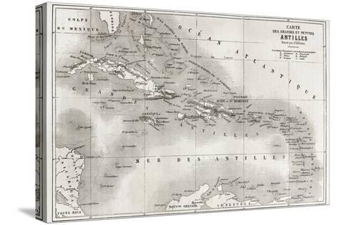Antilles Old Map. Created By Vuillemin And Erhard, Published On Le Tour Du Monde, Paris, 1860-marzolino-Stretched Canvas Print