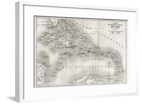 Antilles Old Map. Created By Vuillemin And Erhard, Published On Le Tour Du Monde, Paris, 1860-marzolino-Framed Art Print