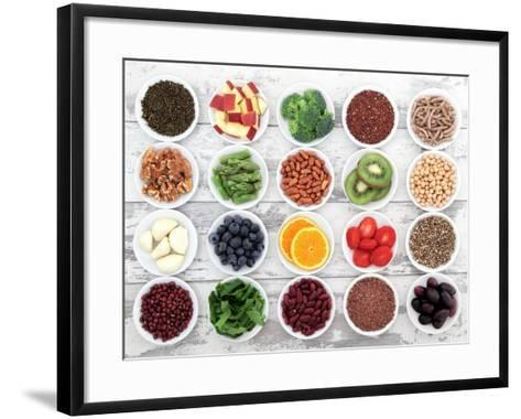 Large Super Food Selection In White Porcelain Dishes Over Distressed White Wooden Background-marilyna-Framed Art Print