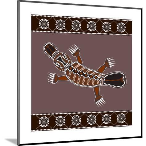 A Illustration Based On Aboriginal Style Of Dot Painting Depicting Platypus-deboracilli-Mounted Art Print