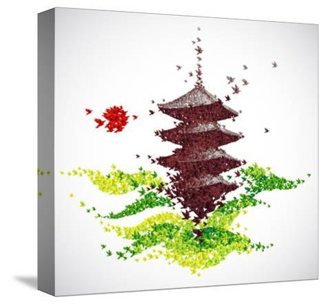 Japan Origami Temple Shaped From Flying Birds-feoris-Stretched Canvas Print