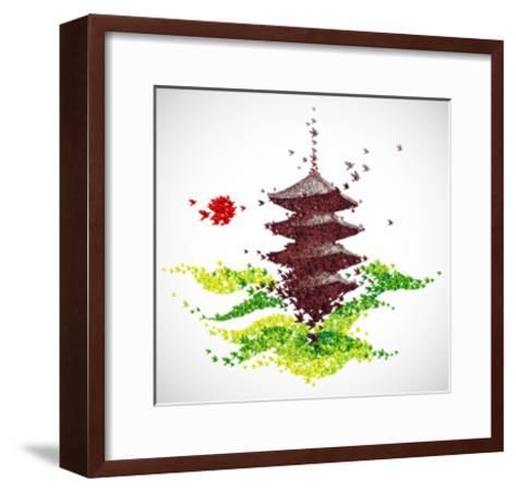 Japan Origami Temple Shaped From Flying Birds-feoris-Framed Art Print