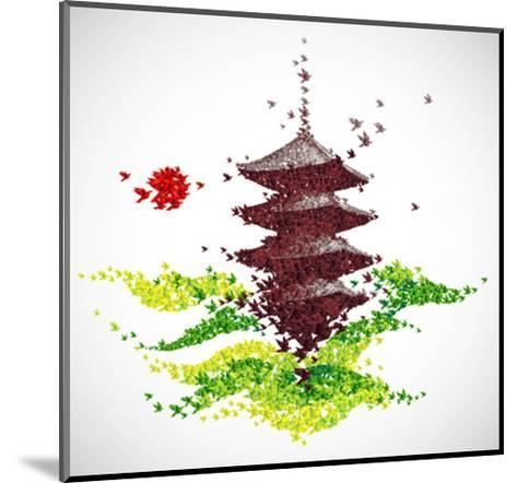 Japan Origami Temple Shaped From Flying Birds-feoris-Mounted Art Print
