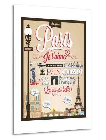 Typographical Retro Style Poster With Paris Symbols And Landmarks-Melindula-Metal Print