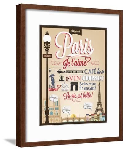 Typographical Retro Style Poster With Paris Symbols And Landmarks-Melindula-Framed Art Print