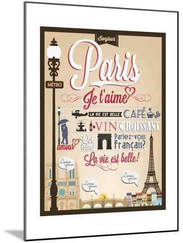 Typographical Retro Style Poster With Paris Symbols And Landmarks-Melindula-Mounted Art Print