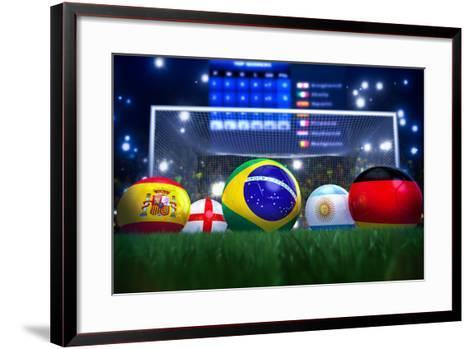 3D Rendering Of Footballs In The Year 2014 In A Football Stadium-coward_lion-Framed Art Print