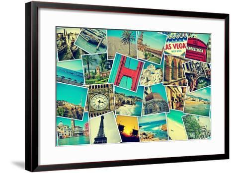Mosaic With Pictures Of Different Places And Landmarks-nito-Framed Art Print