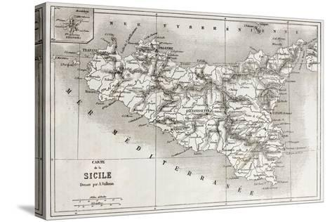 Sicily Old Map With Stromboli Isle Insert Map-marzolino-Stretched Canvas Print