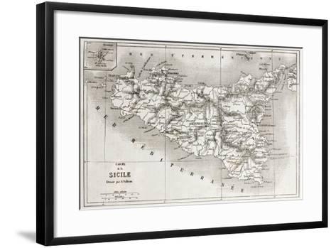 Sicily Old Map With Stromboli Isle Insert Map-marzolino-Framed Art Print
