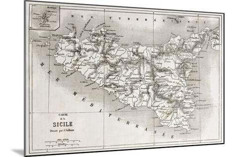 Sicily Old Map With Stromboli Isle Insert Map-marzolino-Mounted Art Print