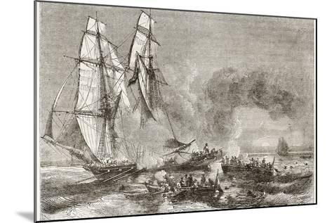 Slaver Vessel Escaping From Military Ship Getting Rid Of Slaves-marzolino-Mounted Art Print