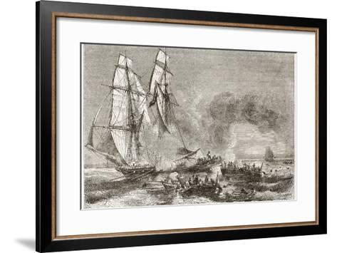 Slaver Vessel Escaping From Military Ship Getting Rid Of Slaves-marzolino-Framed Art Print