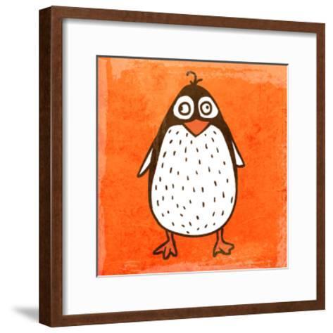 Cartoon Penguin. Cute Hand Drawn, Vintage Paper Texture-Ozerina Anna-Framed Art Print