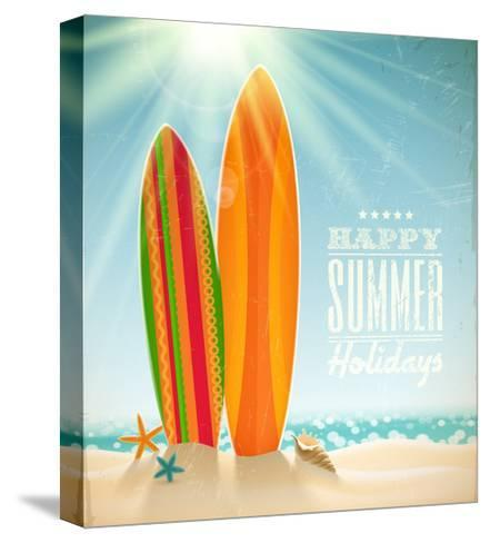 Holidays Vintage Design - Surfboards On A Beach Against A Sunny Seascape-vso-Stretched Canvas Print