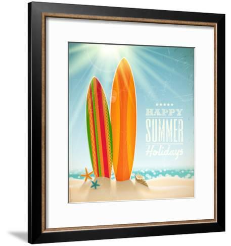 Holidays Vintage Design - Surfboards On A Beach Against A Sunny Seascape-vso-Framed Art Print