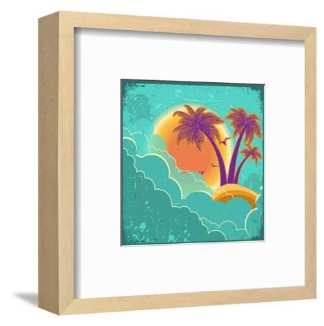 Vintage Tropical Island Background With Sun And Dark Clouds On Old Paper Poster-GeraKTV-Framed Art Print