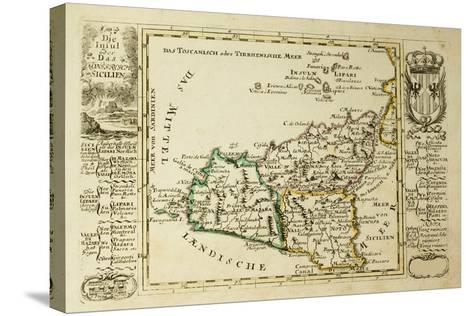 Sicily Old Map, May Be Dated To The Beginning Of The Xviii Sec-marzolino-Stretched Canvas Print