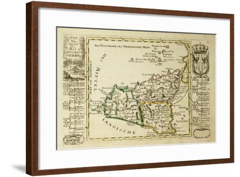 Sicily Old Map, May Be Dated To The Beginning Of The Xviii Sec-marzolino-Framed Art Print