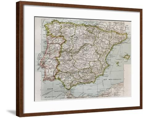 Spain And Portugal Political Map-marzolino-Framed Art Print