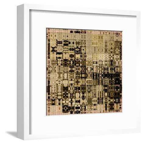 Art Abstract Vibrant Geometric Pattern Background In Black, Sepia And Brown Colors-Irina QQQ-Framed Art Print