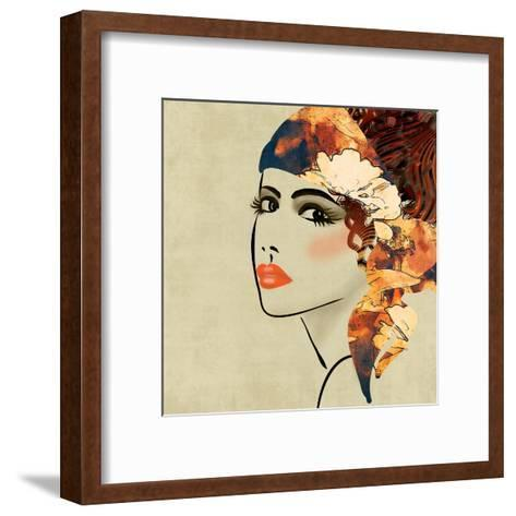 Art Colorful Sketching Beautiful Girl Face On Sepia Background, In Art Deco Style-Irina QQQ-Framed Art Print