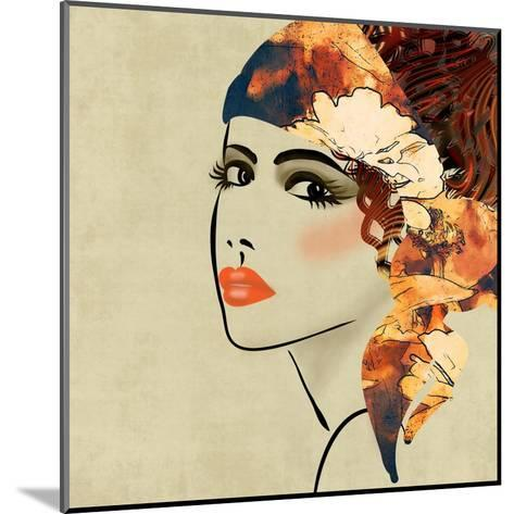 Art Colorful Sketching Beautiful Girl Face On Sepia Background, In Art Deco Style-Irina QQQ-Mounted Art Print