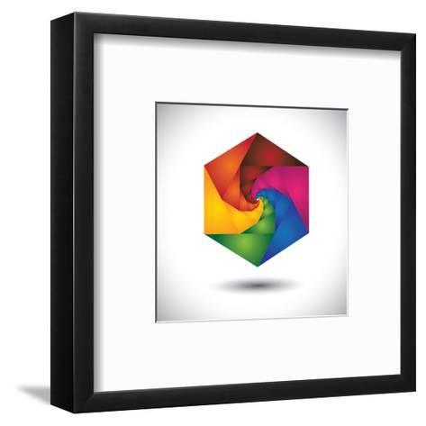 Abstract Colorful Hexagon With Infinite Spiral Steps-smarnad-Framed Art Print