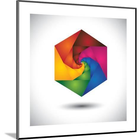 Abstract Colorful Hexagon With Infinite Spiral Steps-smarnad-Mounted Art Print