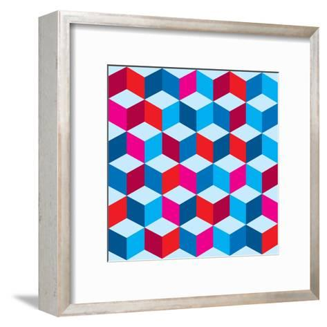 Optical Illusion Background In Red White And Blue With Seamless Pattern-nicemonkey-Framed Art Print
