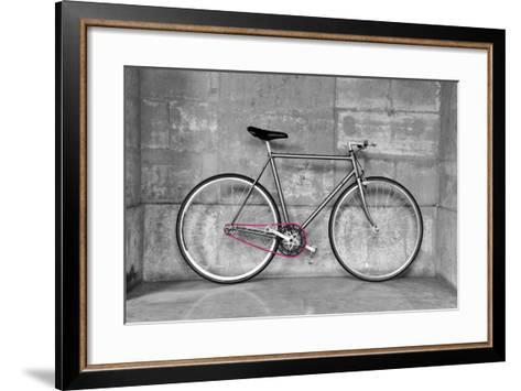 A Fixed-Gear Bicycle (Or Fixie) In Black And White With A Pink Chain-Dutourdumonde-Framed Art Print