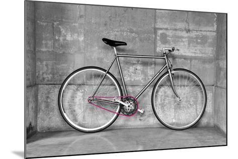 A Fixed-Gear Bicycle (Or Fixie) In Black And White With A Pink Chain-Dutourdumonde-Mounted Art Print