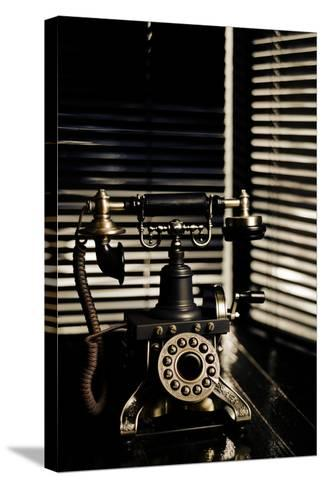 Vintage Telephone - Film Noir Scene With Retro Phone And Blinds-passigatti-Stretched Canvas Print