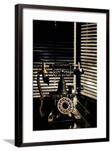 Vintage Telephone - Film Noir Scene With Retro Phone And Blinds-passigatti-Framed Art Print