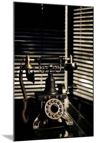 Vintage Telephone - Film Noir Scene With Retro Phone And Blinds-passigatti-Mounted Art Print