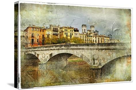 Girona, View With Bridge - Artistic Picture In Painting Style-Maugli-l-Stretched Canvas Print