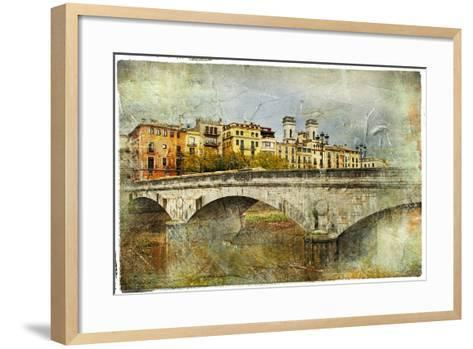 Girona, View With Bridge - Artistic Picture In Painting Style-Maugli-l-Framed Art Print