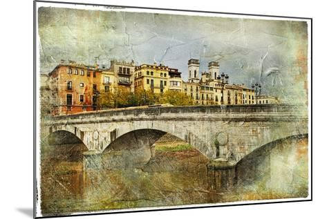 Girona, View With Bridge - Artistic Picture In Painting Style-Maugli-l-Mounted Art Print