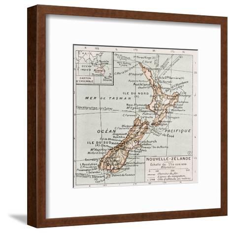 New Zealand Old Map-marzolino-Framed Art Print