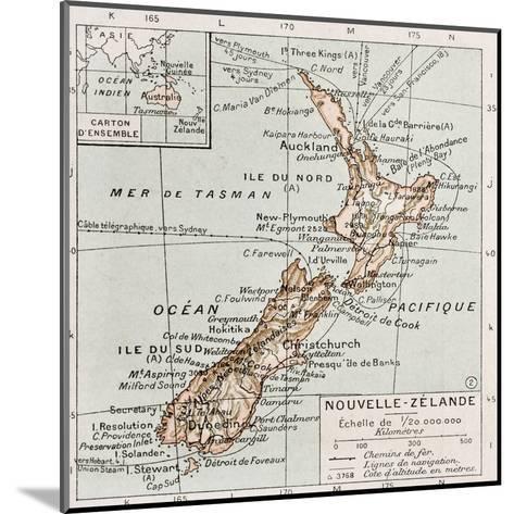 New Zealand Old Map-marzolino-Mounted Art Print