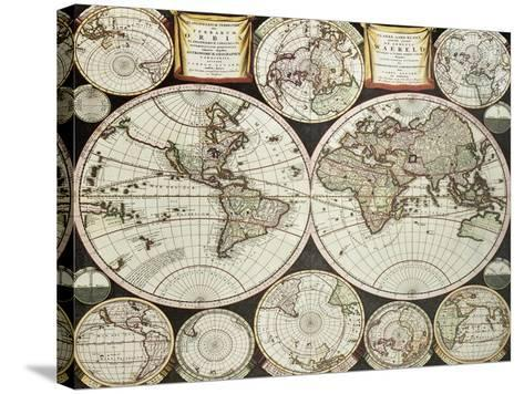 Old Double Emisphere Map Of The World Surrounded By Smallest Emispheric Projections-marzolino-Stretched Canvas Print