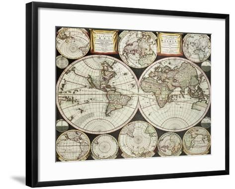 Old Double Emisphere Map Of The World Surrounded By Smallest Emispheric Projections-marzolino-Framed Art Print