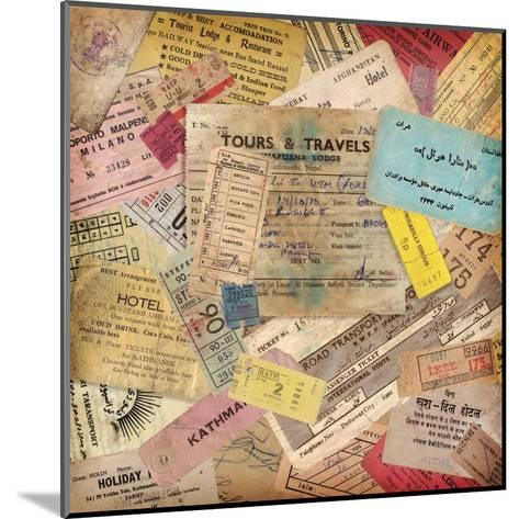 Vintage Travel Background Made Of Lots Of Old Tickets-shootandwin-Mounted Art Print