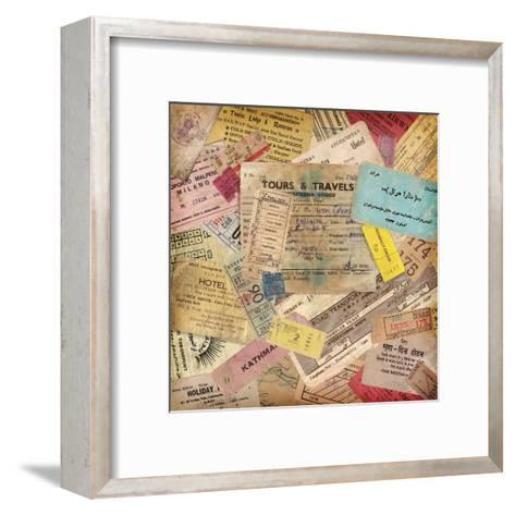 Vintage Travel Background Made Of Lots Of Old Tickets-shootandwin-Framed Art Print
