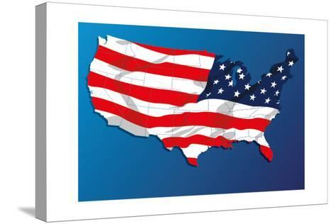 Map Of The United States Of America States, With Each State On Its Shape-Blink Blink-Stretched Canvas Print