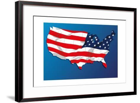 Map Of The United States Of America States, With Each State On Its Shape-Blink Blink-Framed Art Print