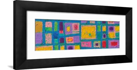 Panorama Texture, Background And Colorful Image Of An Original Abstract Painting On Canvas-opasstudio-Framed Art Print