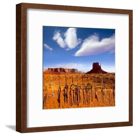 Dreamcatcher Monument West Mitten Butte Morning With Navajo Indian Crafts Utah-holbox-Framed Art Print